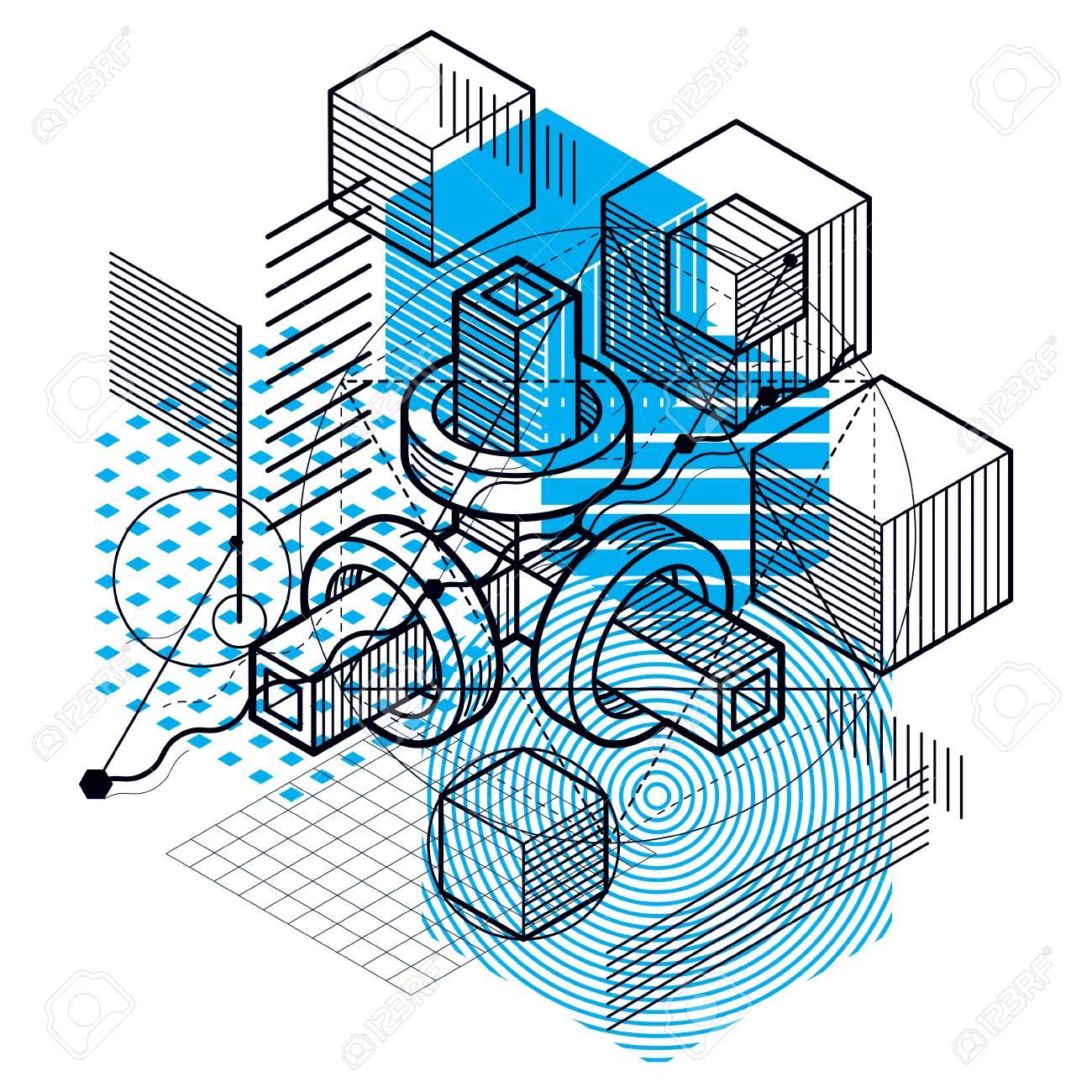 Zusammenfassung Hintergrund Mit Isometrischen Linien, Vektor ...
