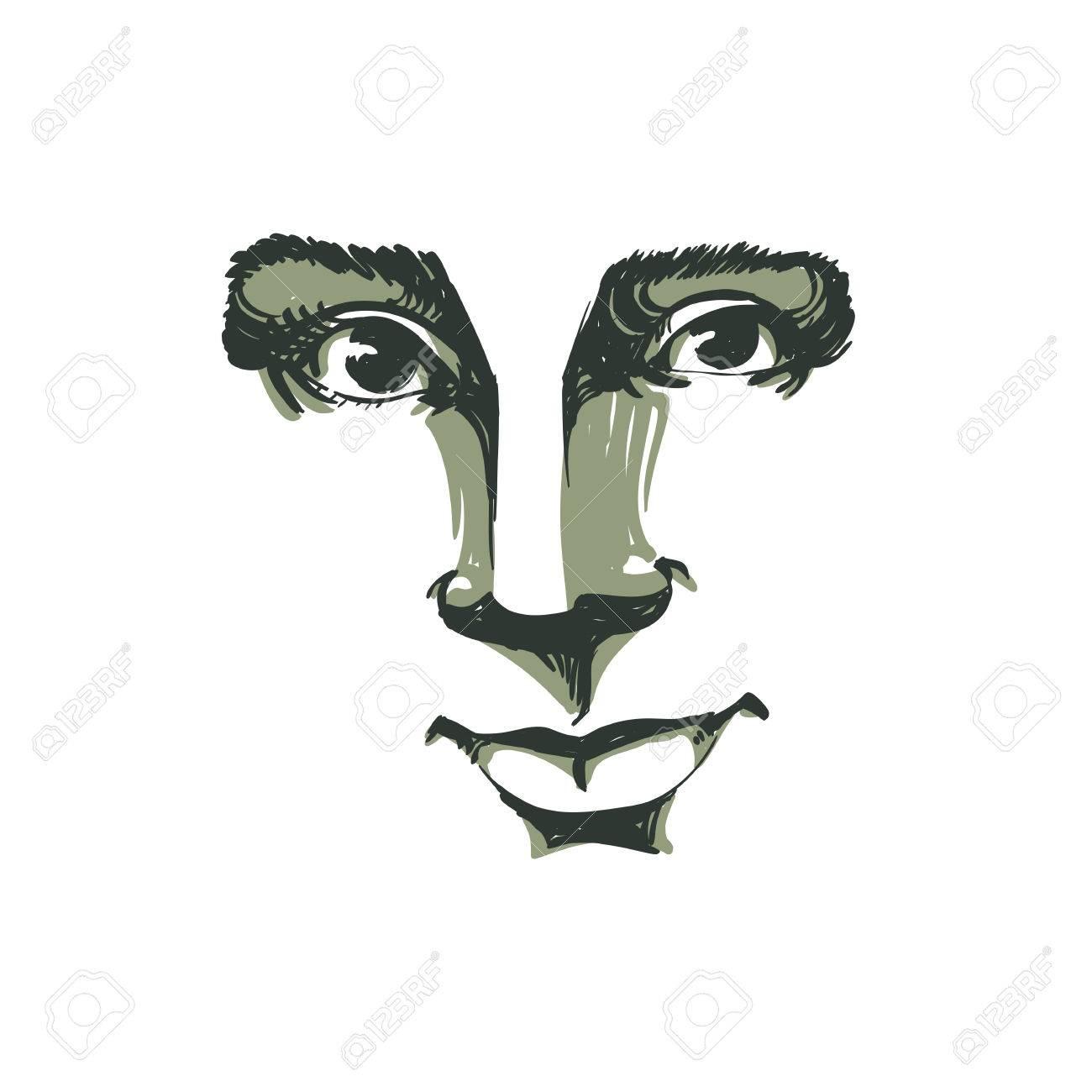 Uitzonderlijk Vector Zwart-wit Art Tekening, Portret Van Prachtige Dromerige #ZO37