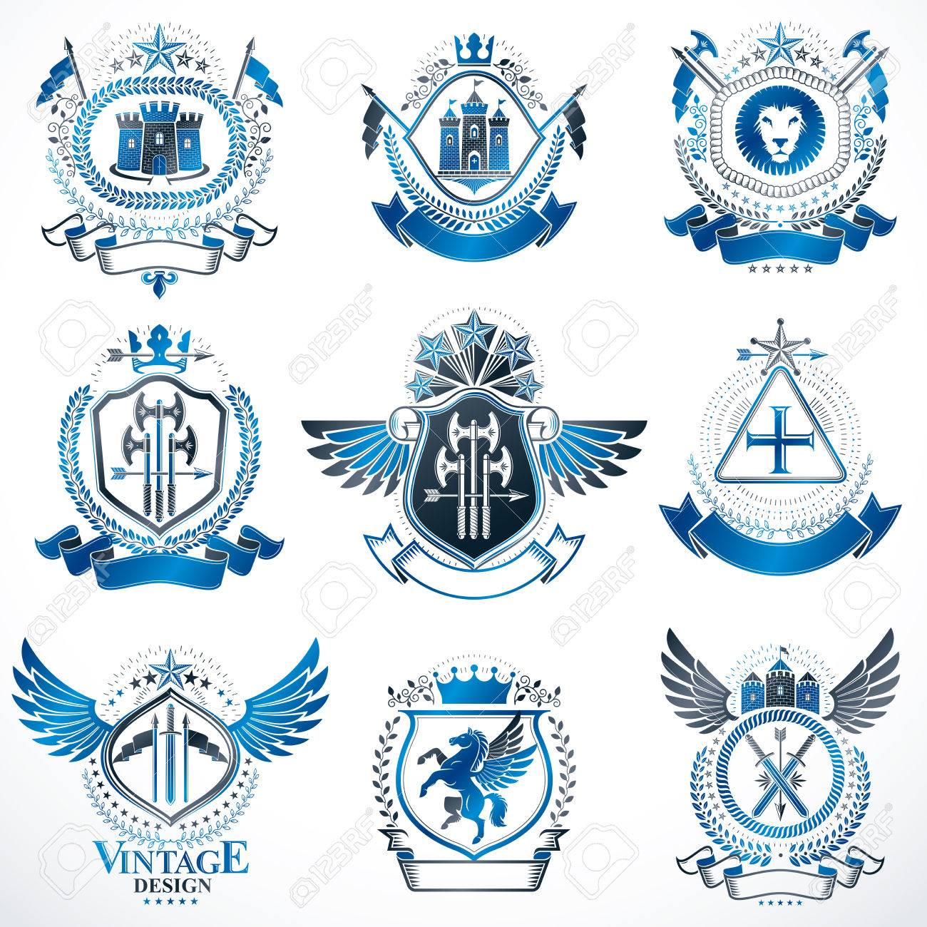 Vector classy heraldic coat of arms collection of blazons stylized vector classy heraldic coat of arms collection of blazons stylized in vintage design and created biocorpaavc Images
