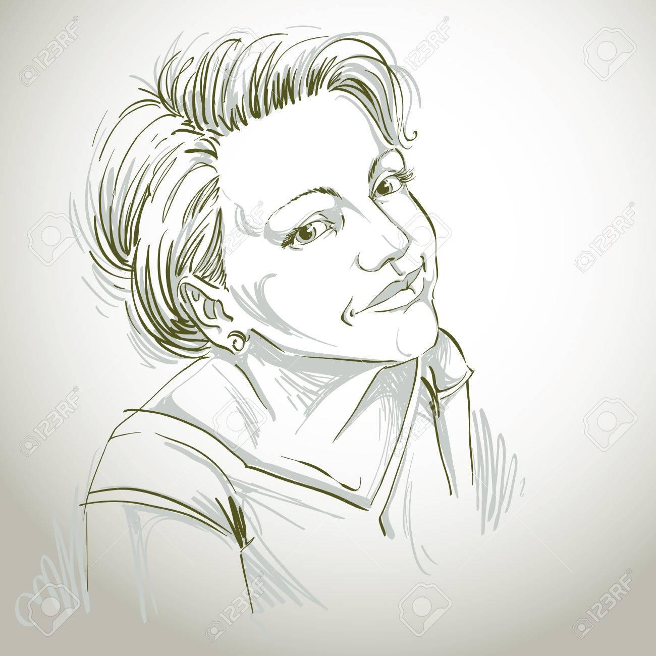 Dessin D Art Vectoriel Portrait De Magnifique Fille Heureuse Isolée Sur Blanc Les Expressions Faciales Les Gens Des émotions Positives