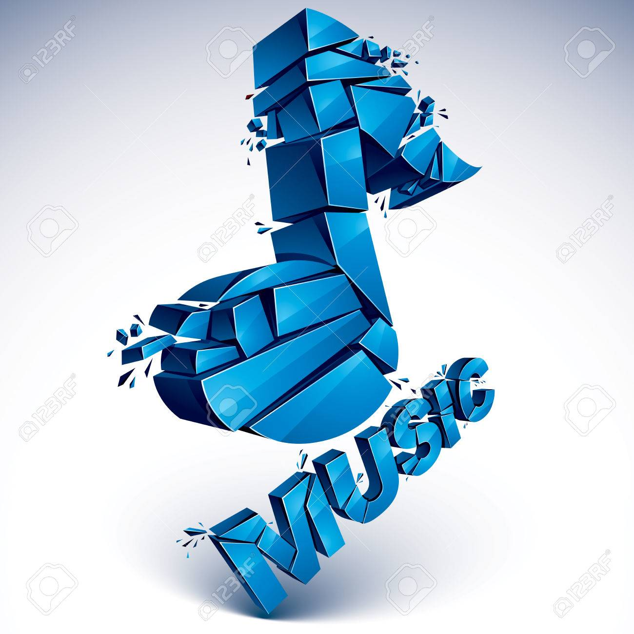 3d Vector Blue Shattered Musical Notes With Music Word Art Melody