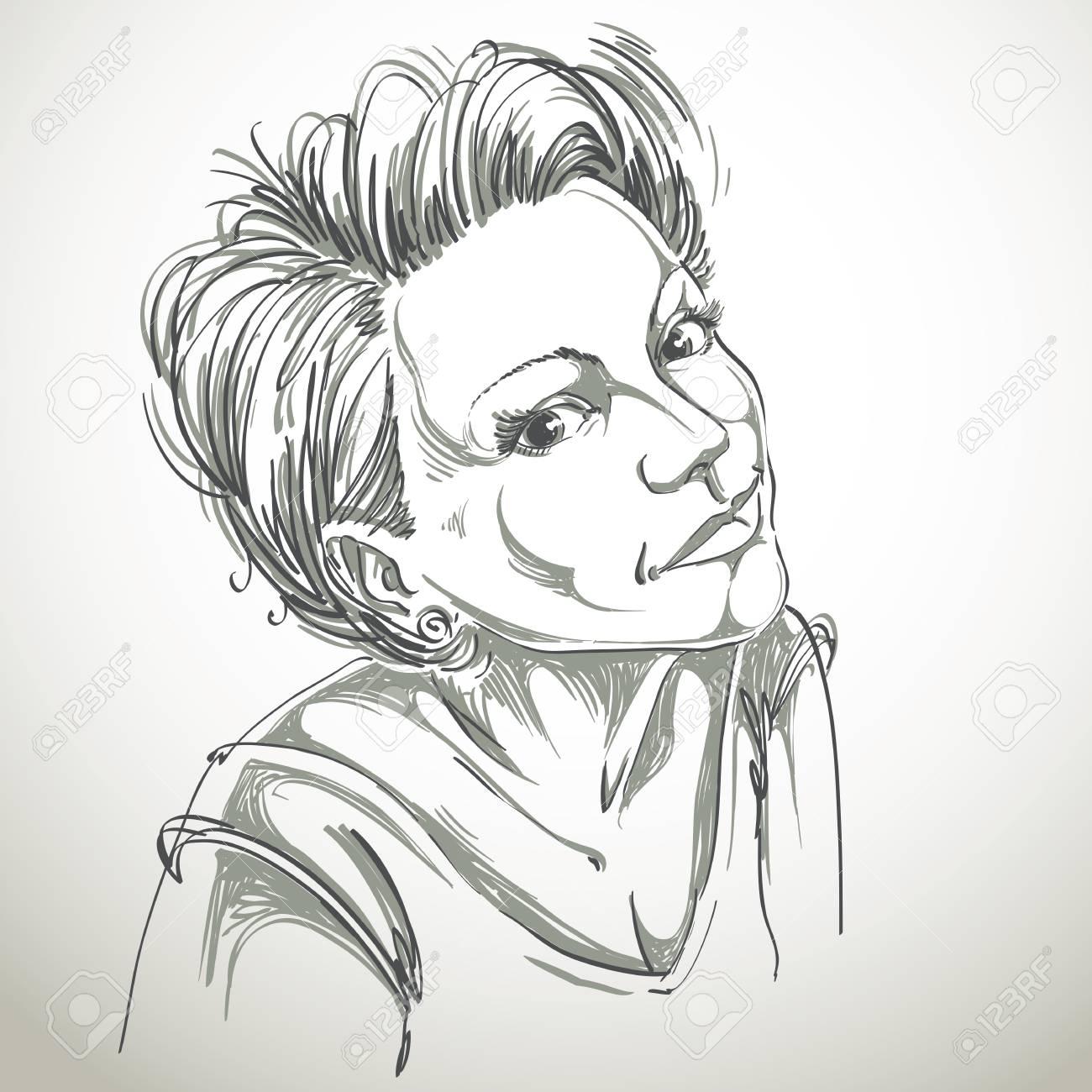 Portrait De Délicate Romantique Belle Femme Noir Et Blanc Dessin Vectoriel Idée Image Expressions émotionnelles