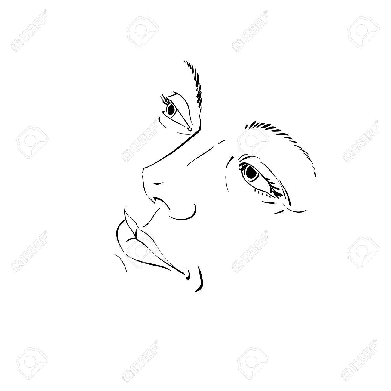 Hand drawn illustration of woman face black and white mask with