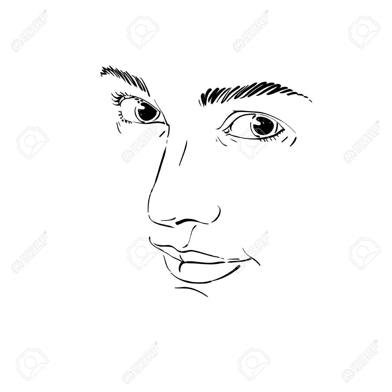 Portrait De Tendre Rêveur Encore Femme Dessin Vectoriel Noir Et Blanc Image Dexpressions émotionnelles Caractéristiques Du Visage Illustration