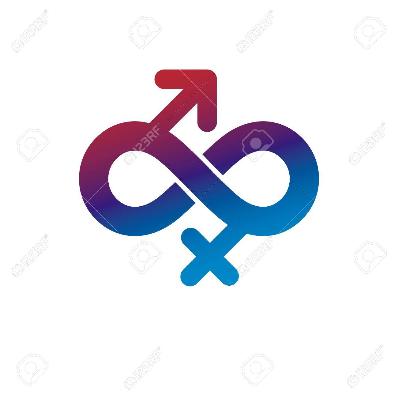 Eternal Couple Conceptual Logo Vector Symbol Created With Infinity
