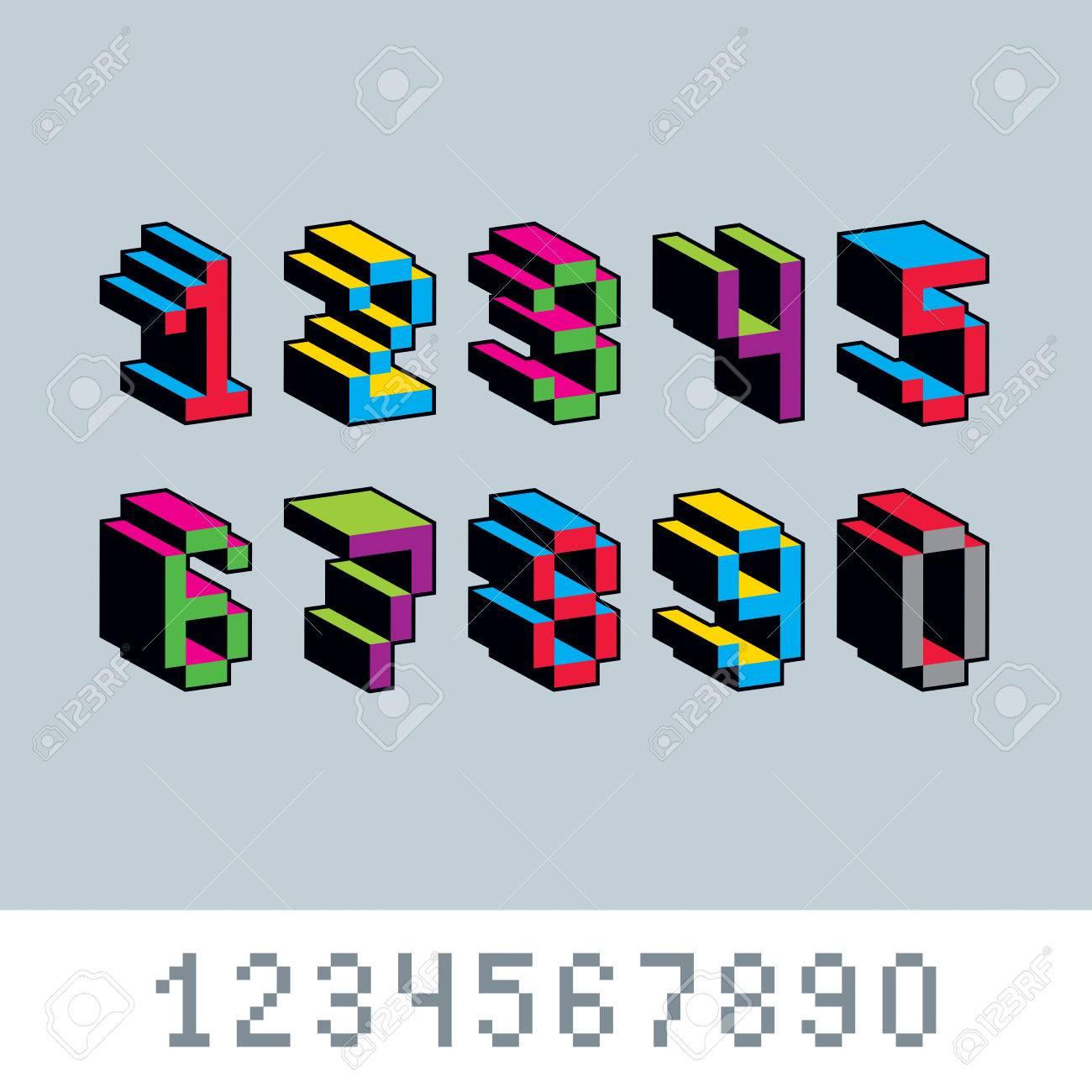 Kybernetische 3d Zahlen, Pixel-Kunst-Vektor Numerierung. Pixel ...