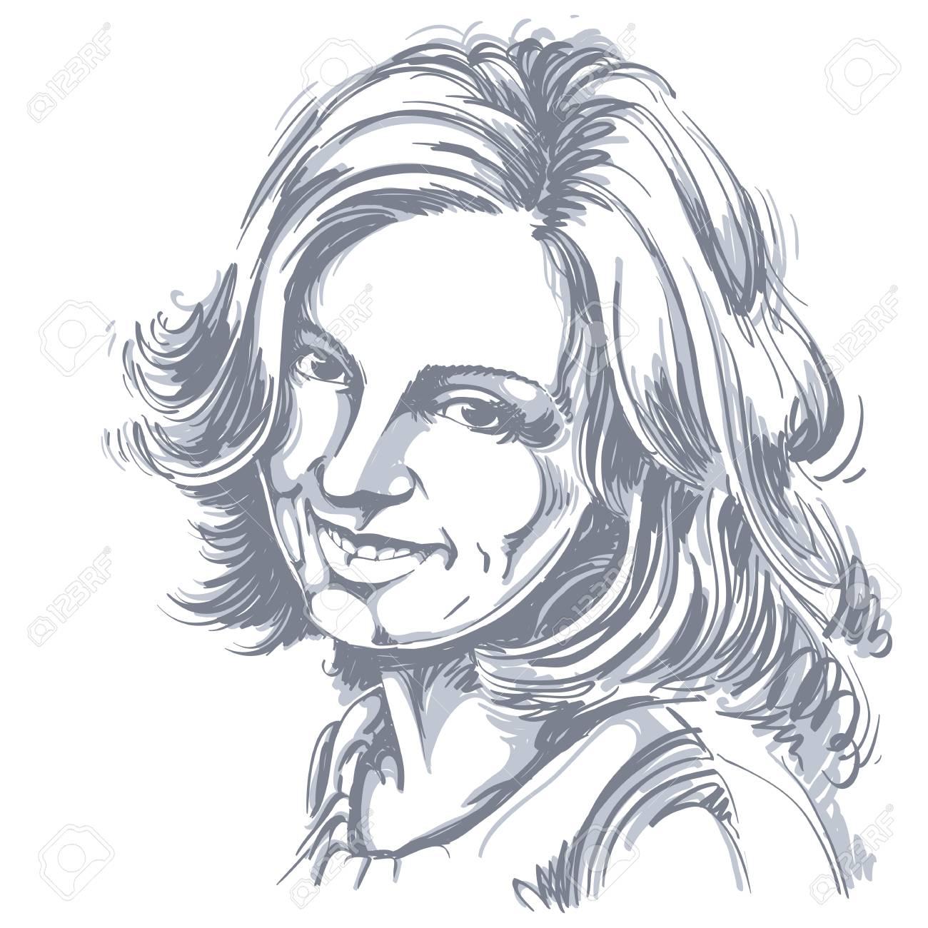 Dessin Vectoriel De Femme Sincère Souriante Avec Coupe De Cheveux élégante Portrait Noir Et Blanc De Séduisante Dame Heureuse Satisfaite Modèle