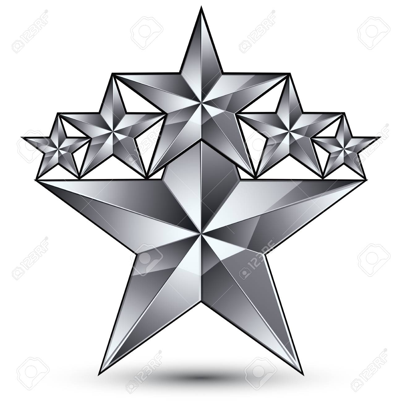 Template Vecteur Glamorous Avec Pentagonale Symbole étoile Argentée