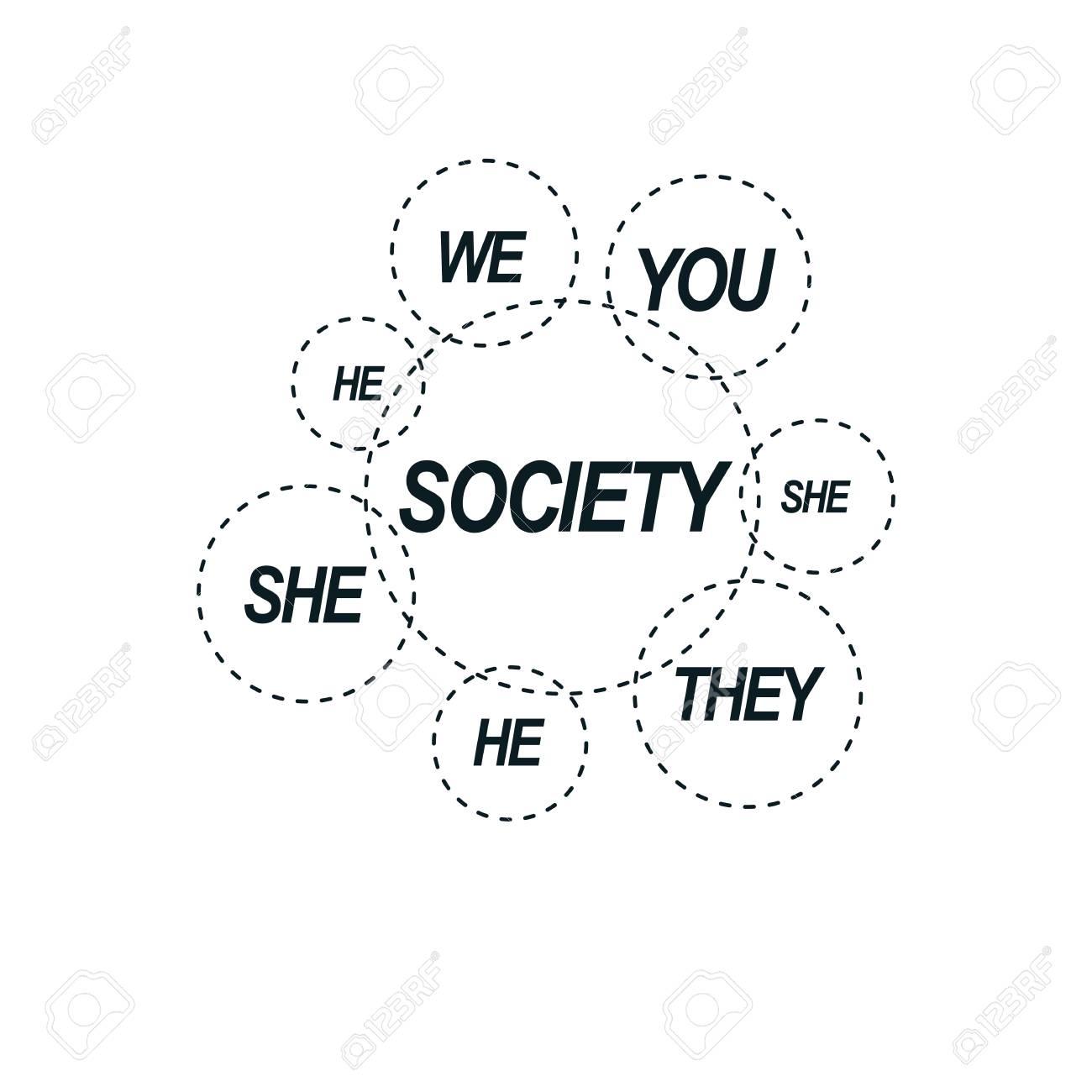 社会関係の概念的なロゴ、固有ベ...