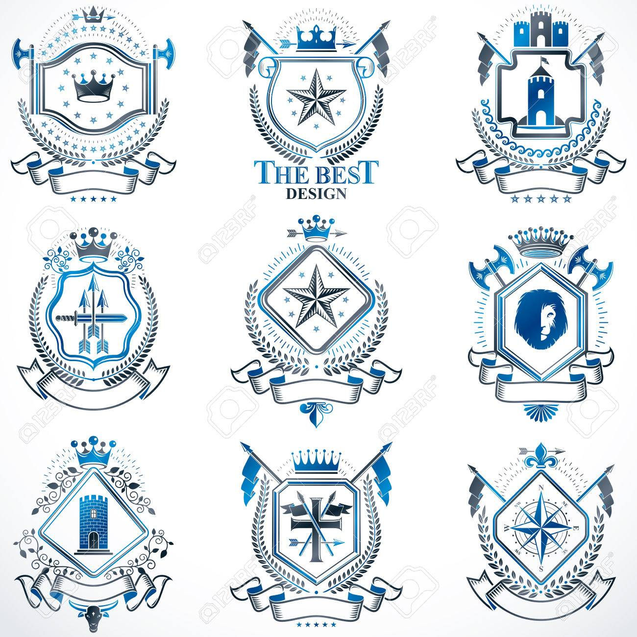 Heraldic coat of arms created with vintage vector elements animals heraldic coat of arms created with vintage vector elements animals towers crowns and biocorpaavc Images