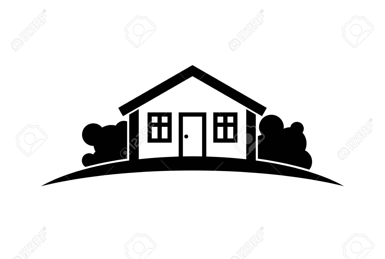 Zusammenfassung Vektor Schwarz Und Weiß Einfache Haus Mit Horizont ...