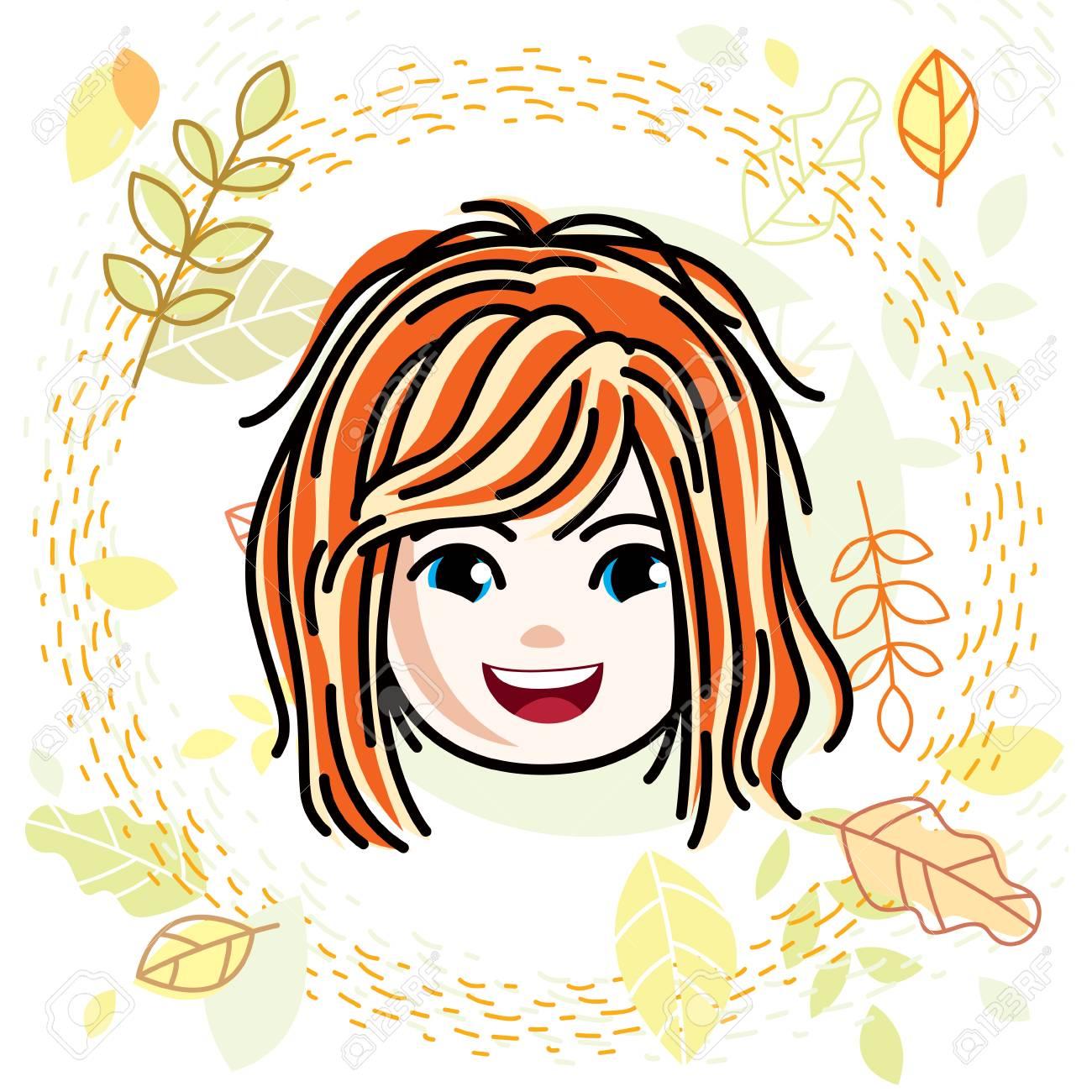 かわいい女の子の顔頭部笑顔の女の子の顔の特徴ベクトル赤毛文字