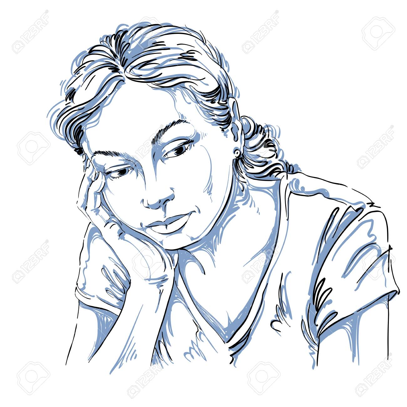 Vector Art Dessin Portrait Triste Et Deprime Fille Penser A