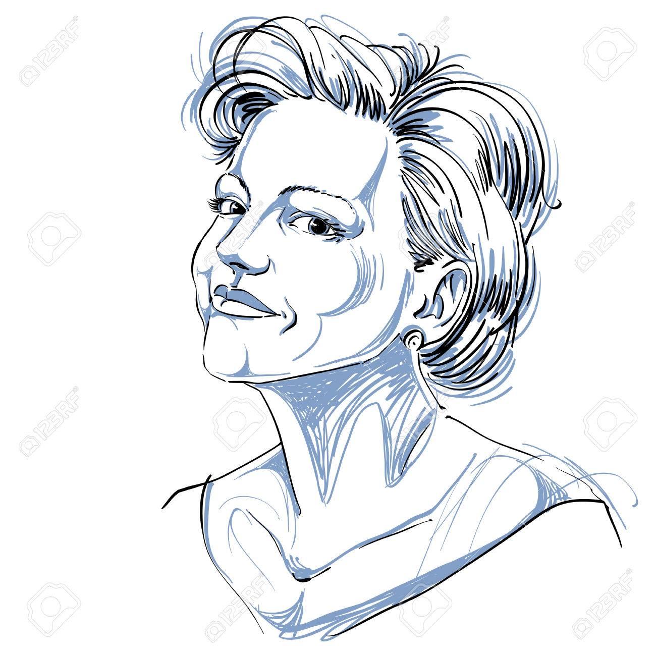 平和的な若い女性の白黒ベクトル手描きイメージ。自信を持って女の子の