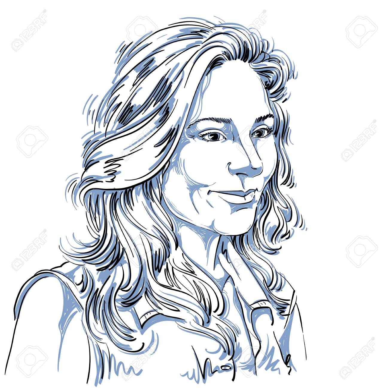 Vector Art Dessin Portrait De Fille Magnifique Rêve Isolé Sur Blanc Les Expressions Faciales Les Gens Des émotions Positives Caucasienne