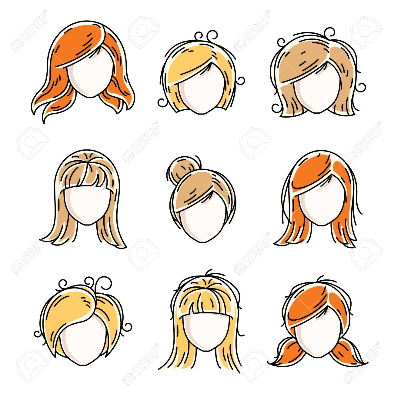 Collection Of Women Faces Human Heads Diverse Vector Characters Royalty Free Cliparts Vectors And Stock Illustration Image 79508152