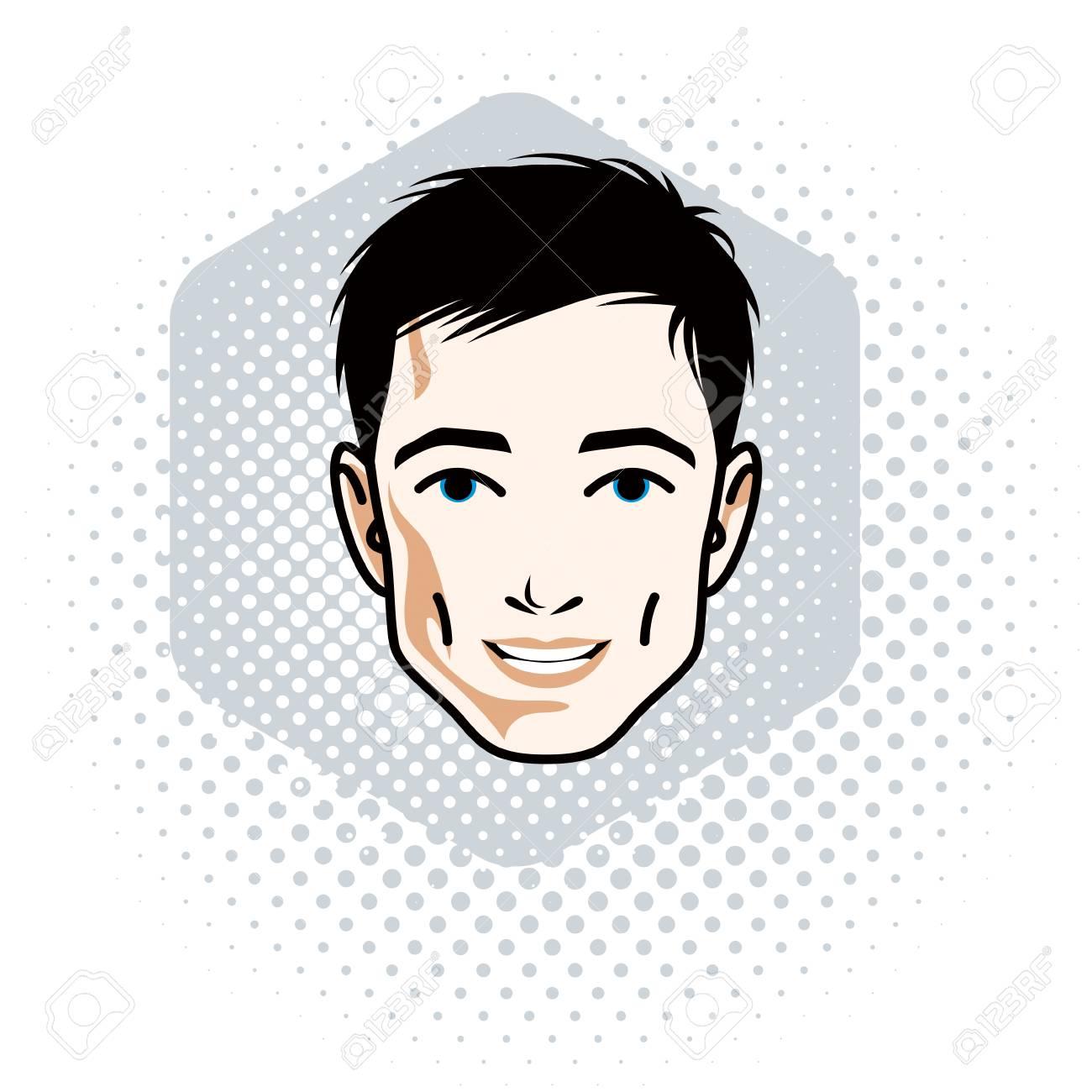 黒髪のハンサムな男性顔正面機能アートのベクトル イラストの