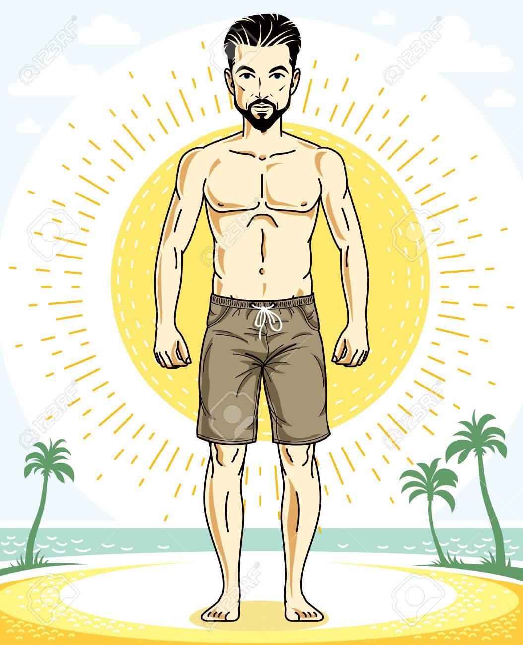 Tropicale De En Vacances Barbe Et Une Sur Bel Moustaches Pose Homme ShortCaractère D'été Avec Des VecteurThème Brun Plage xWedCorB
