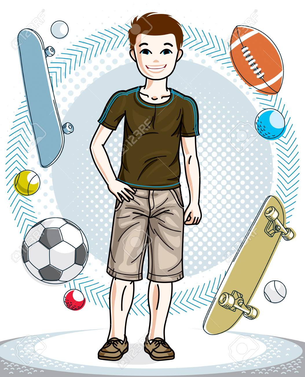 Cute little boy child standing wearing casual clothes. Vector pretty nice  human illustration. Fashion a4f1092fc42e3