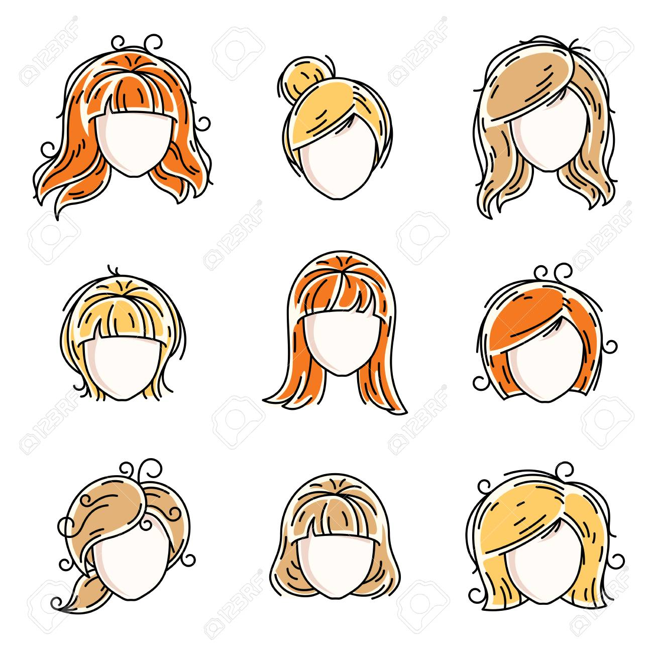 Collection Of Women Faces Human Heads Diverse Vector Characters Royalty Free Cliparts Vectors And Stock Illustration Image 79544906