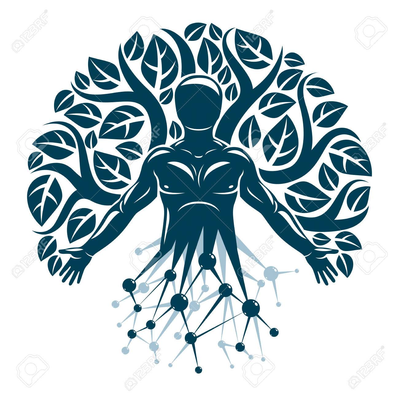 Vector individual, mystic character made with wireframe mesh connections and eco tree leaves. Human, science and ecology interaction, technology and nature balance. - 84052707