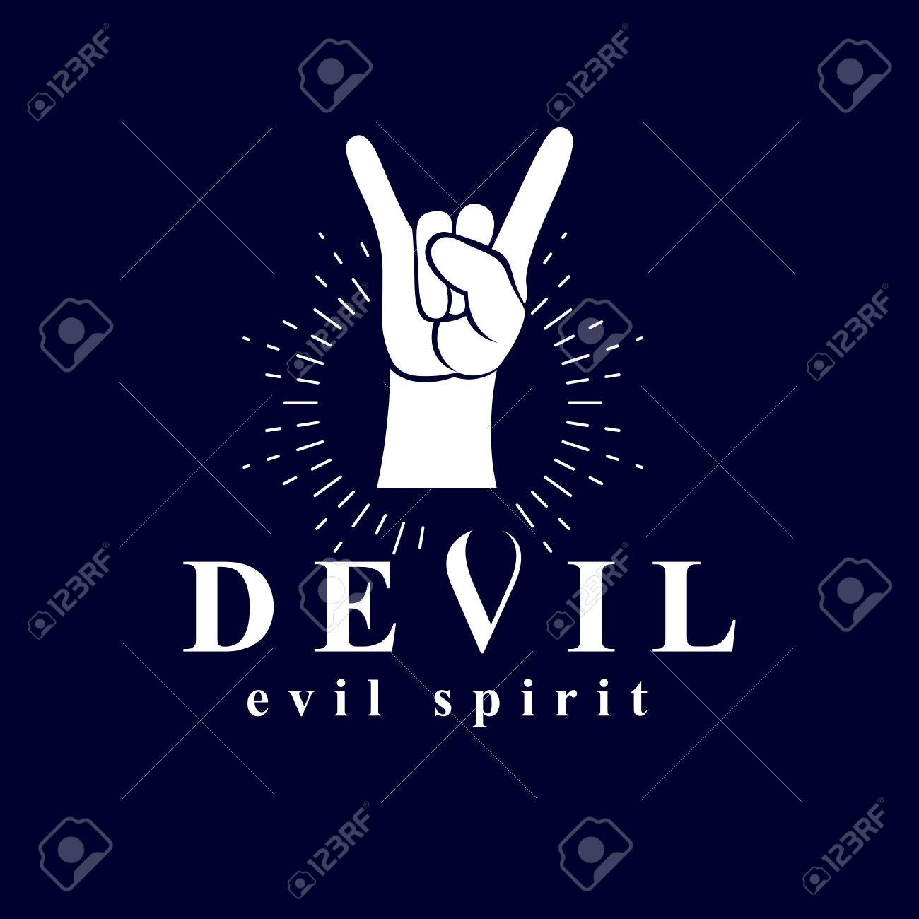 Rock on hand sign created with a devil inscription evil spirit rock on hand sign created with a devil inscription evil spirit logo stock vector buycottarizona