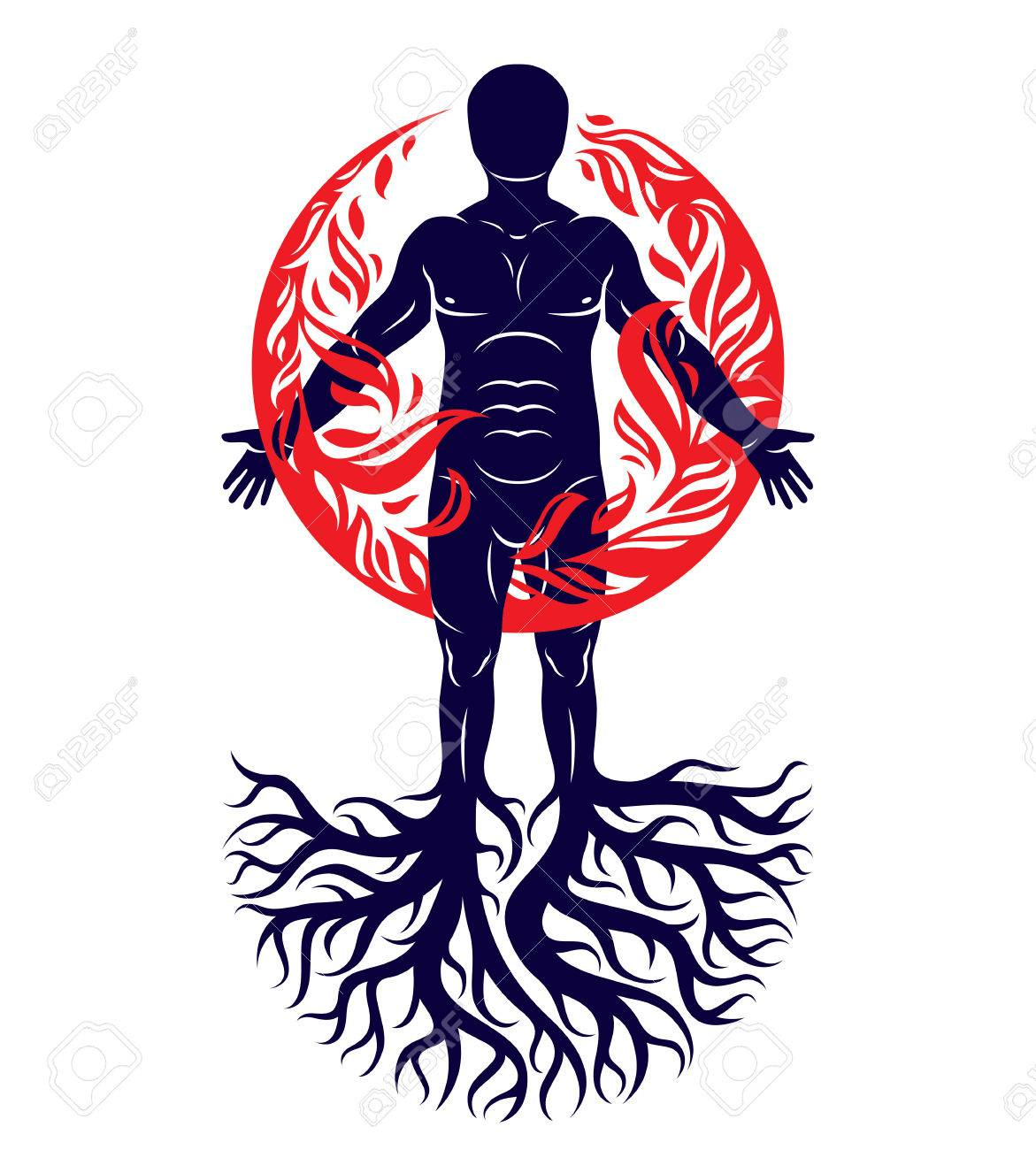 Vector illustration of human being created with tree roots human vector illustration of human being created with tree roots human and nature harmony fire biocorpaavc Gallery