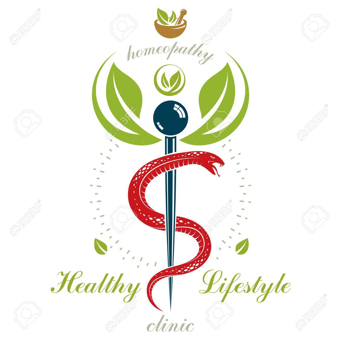 Pharmacy Caduceus icon, vector medical logo for use in holistic