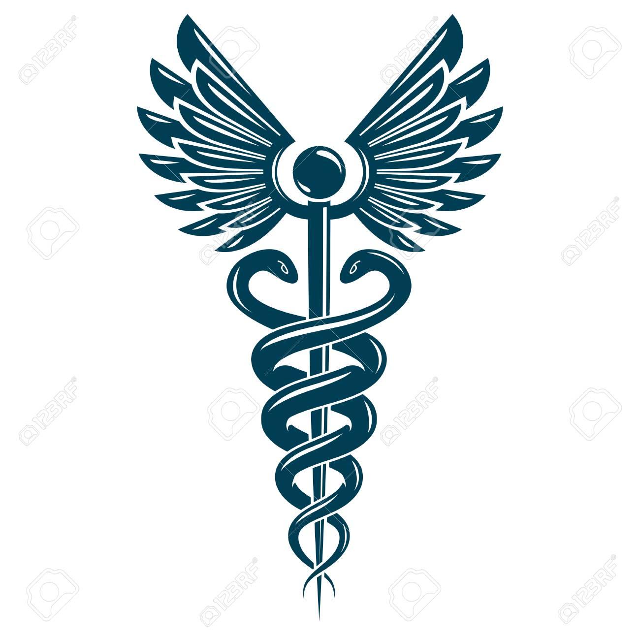 caduceus symbol made using bird wings and poisonous snakes rh 123rf com