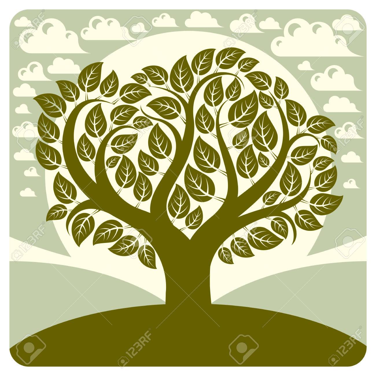 art vector graphic illustration of spring tree growing on