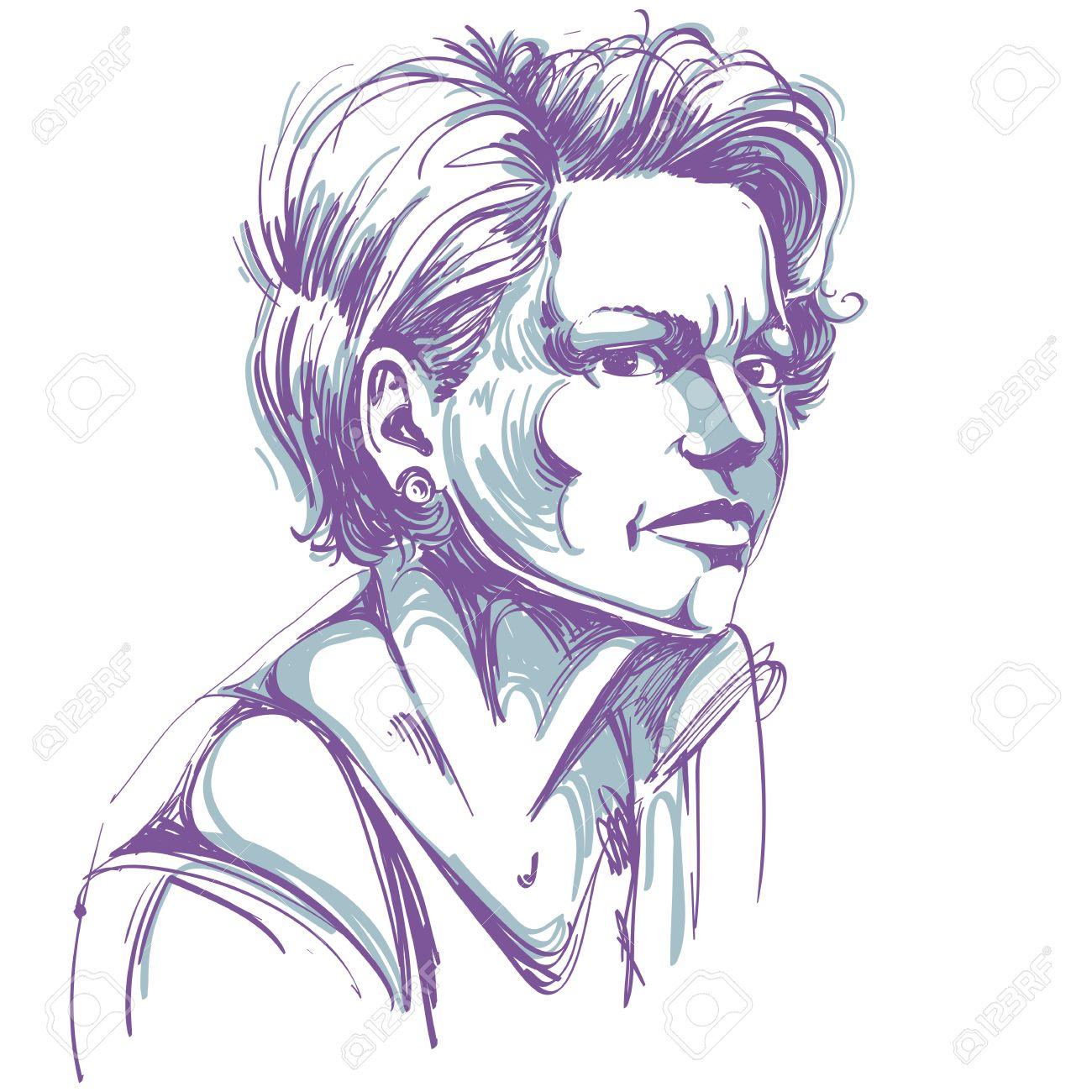 ベクトル疑いきれいな女性のイラストを表現する魅力的な女性の肖像画