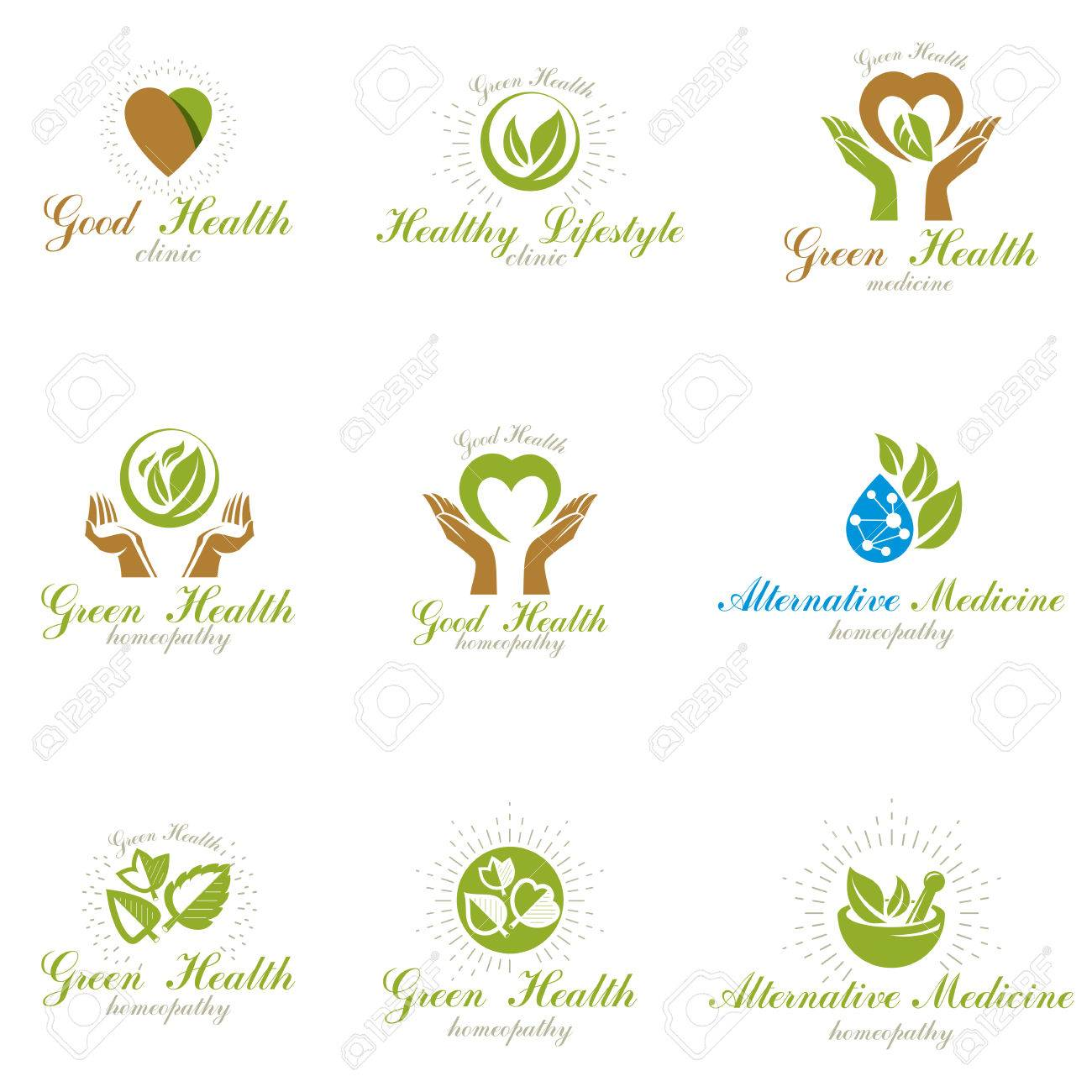 Homeopathy creative symbols collection alternative medicine homeopathy creative symbols collection alternative medicine conceptual vector emblems created using green leaves heart buycottarizona Images