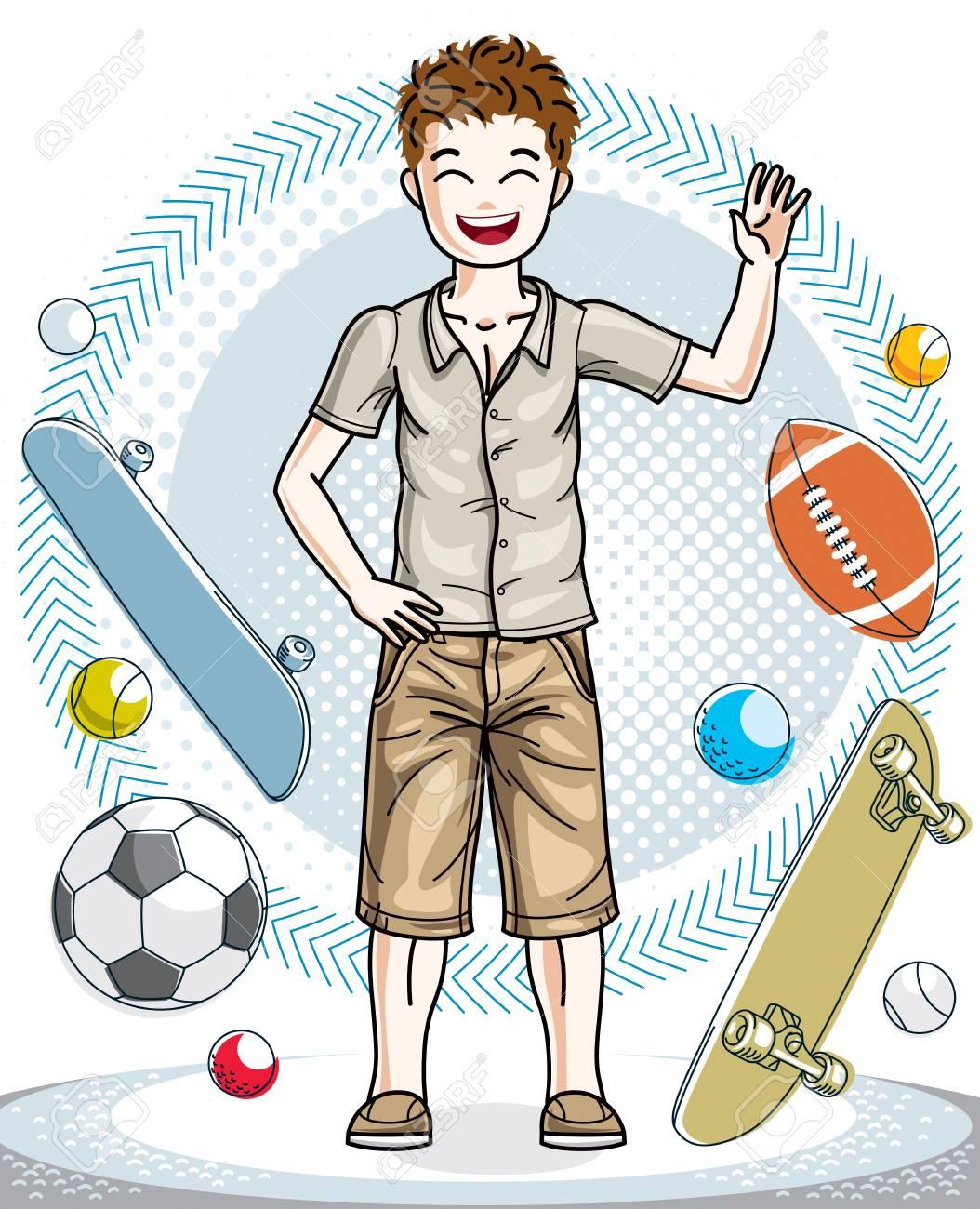 5560043fb664 Hermoso niño agradable joven adolescente posando en ropa casual con estilo.  Ilustración humana del vector. Historieta del tema de la moda y de la ...