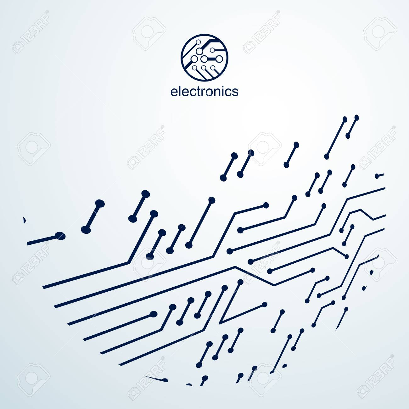 Vector Circuit Board With Electronic Components Of Technology ...