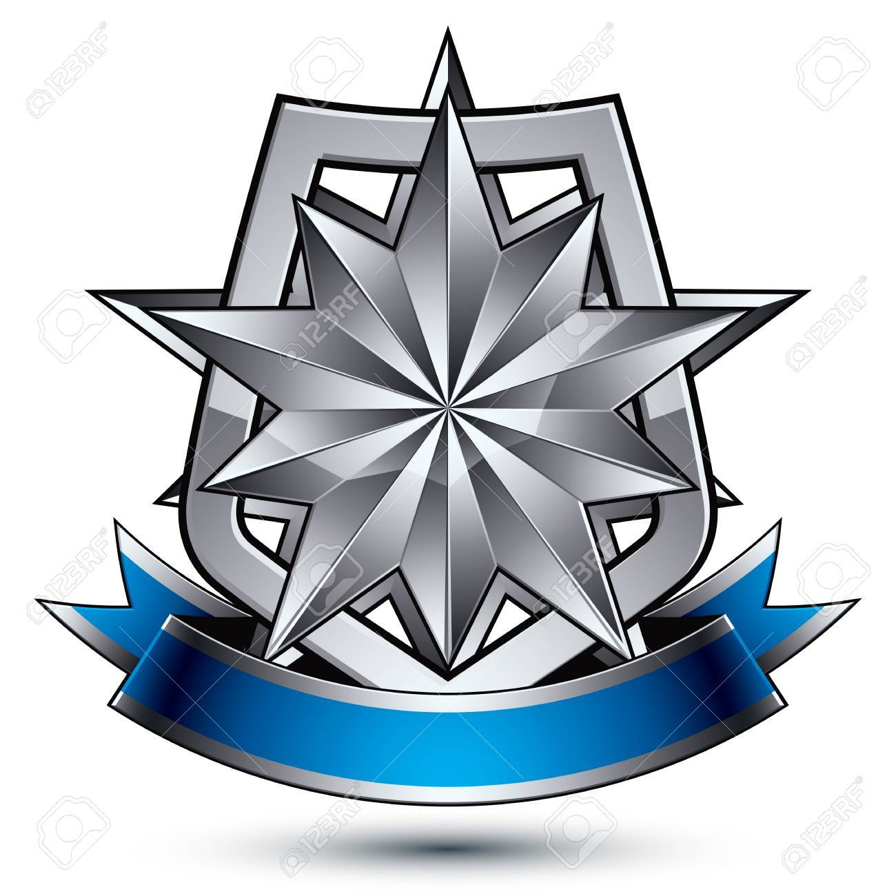 Heraldic Vector Template With Polygonal Silver Star Placed On ...