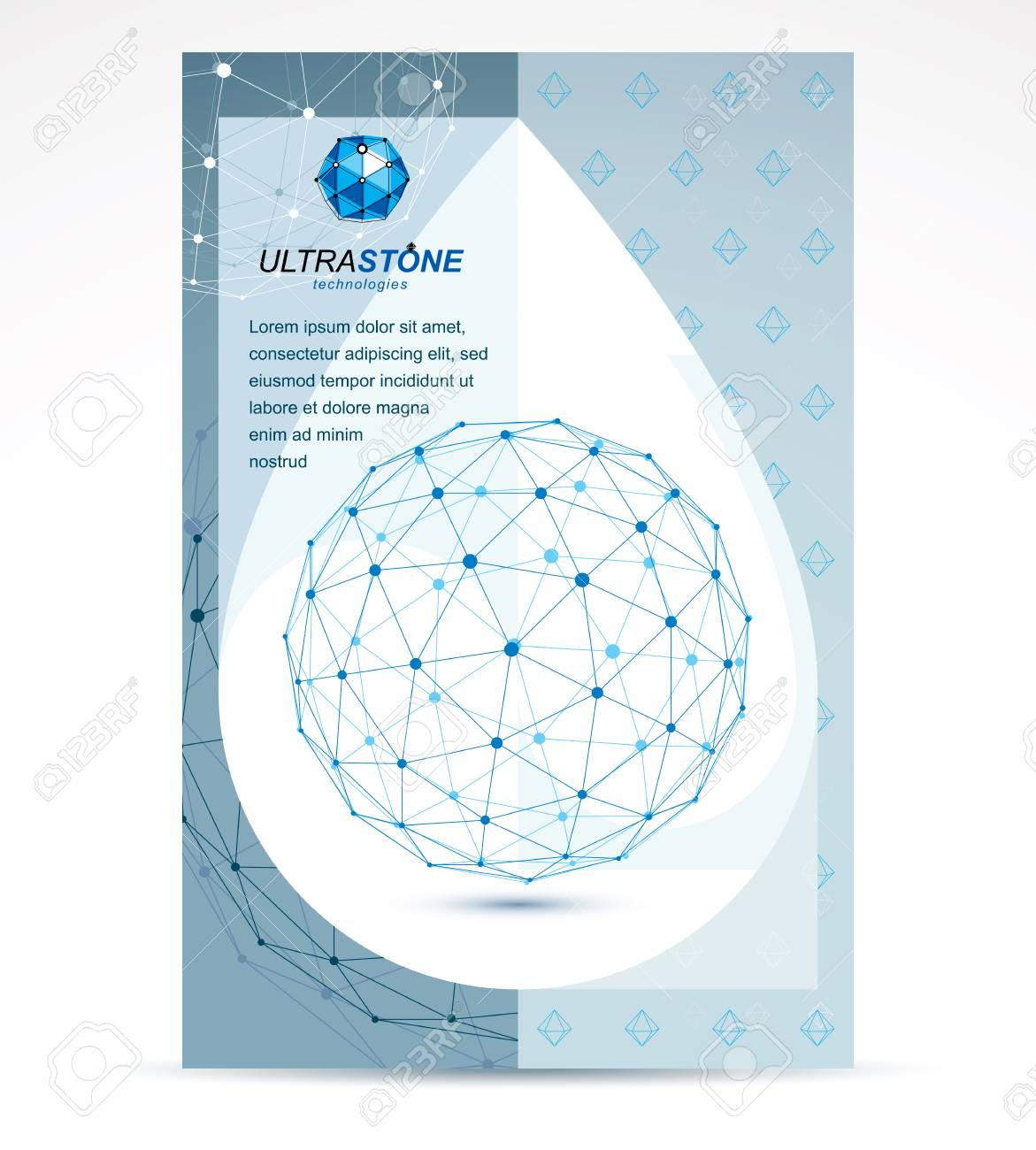 new technology theme booklet cover design front page 3d engineering vector abstract blue