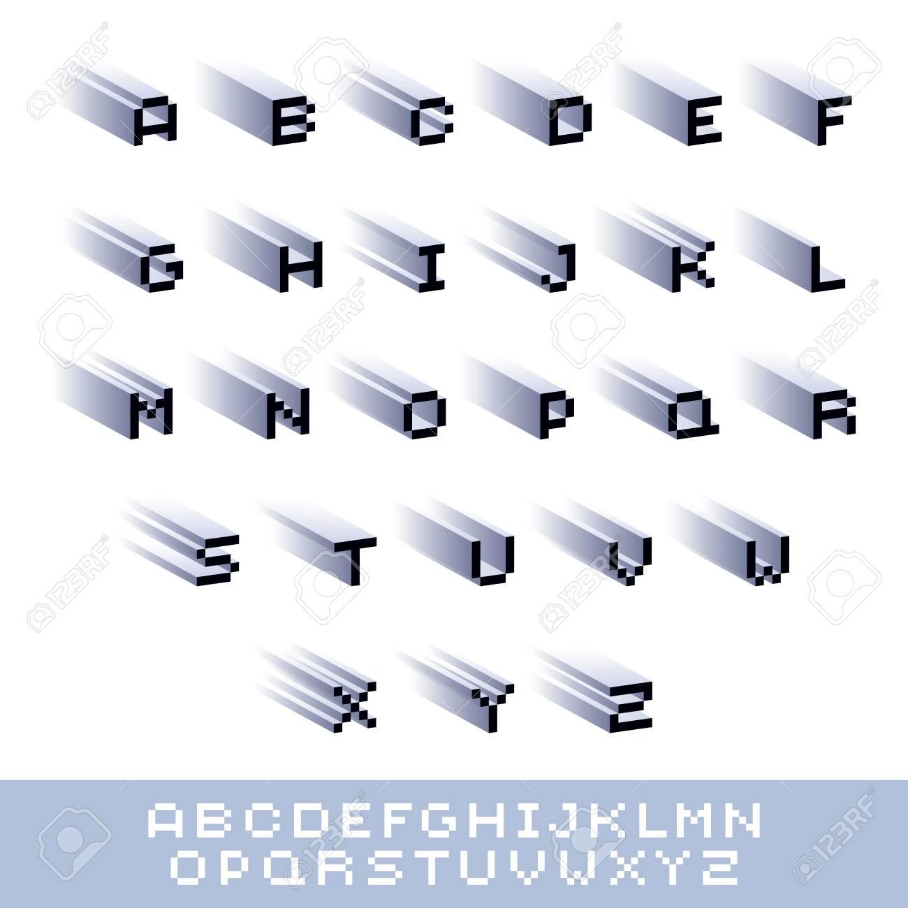 Cybernetic 3d alphabet letters, pixel art vector digital typescript. Pixel design elements, contemporary
