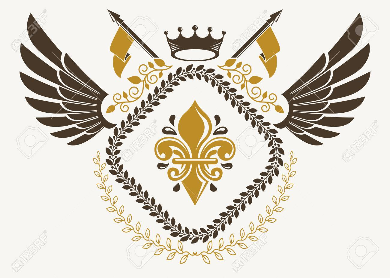 Vintage winged emblem created in vector heraldic design and composed vector vintage winged emblem created in vector heraldic design and composed using lily flower symbol and imperial crown izmirmasajfo