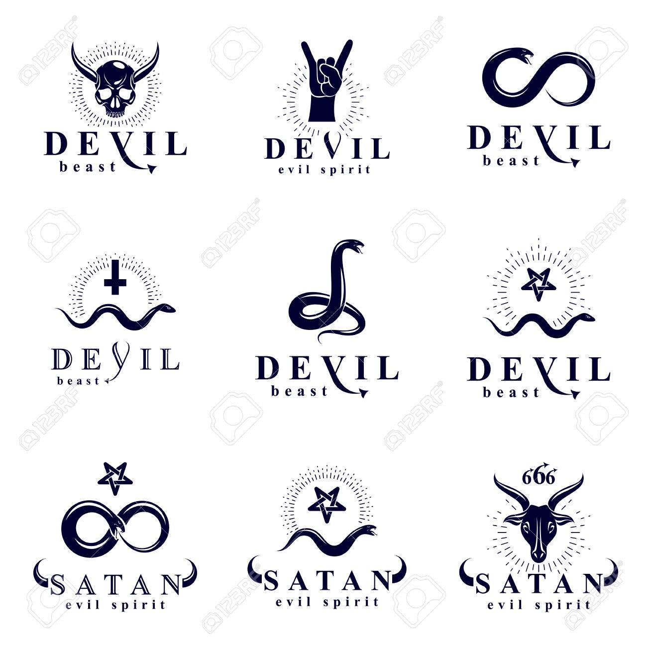 Set of vector demonic infernal mystic logotypes created using set of vector demonic infernal mystic logotypes created using poisonous snakes horned wicked dead head buycottarizona