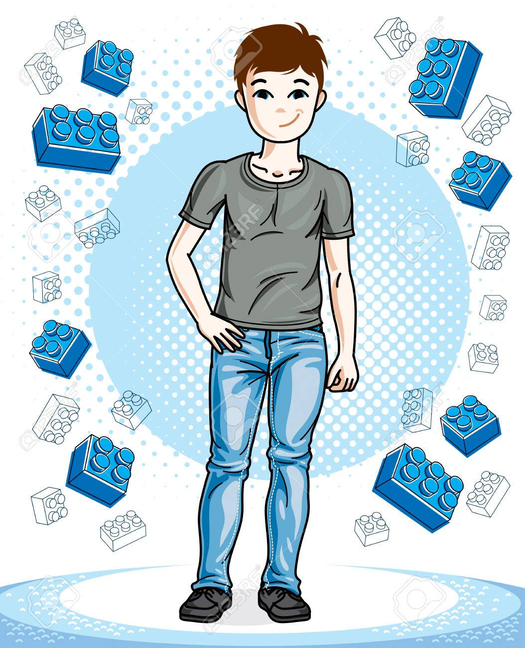 Beautiful little boy cute child standing wearing fashionable casual  clothes. Vector pretty nice human illustration e2d29a4f6afaa