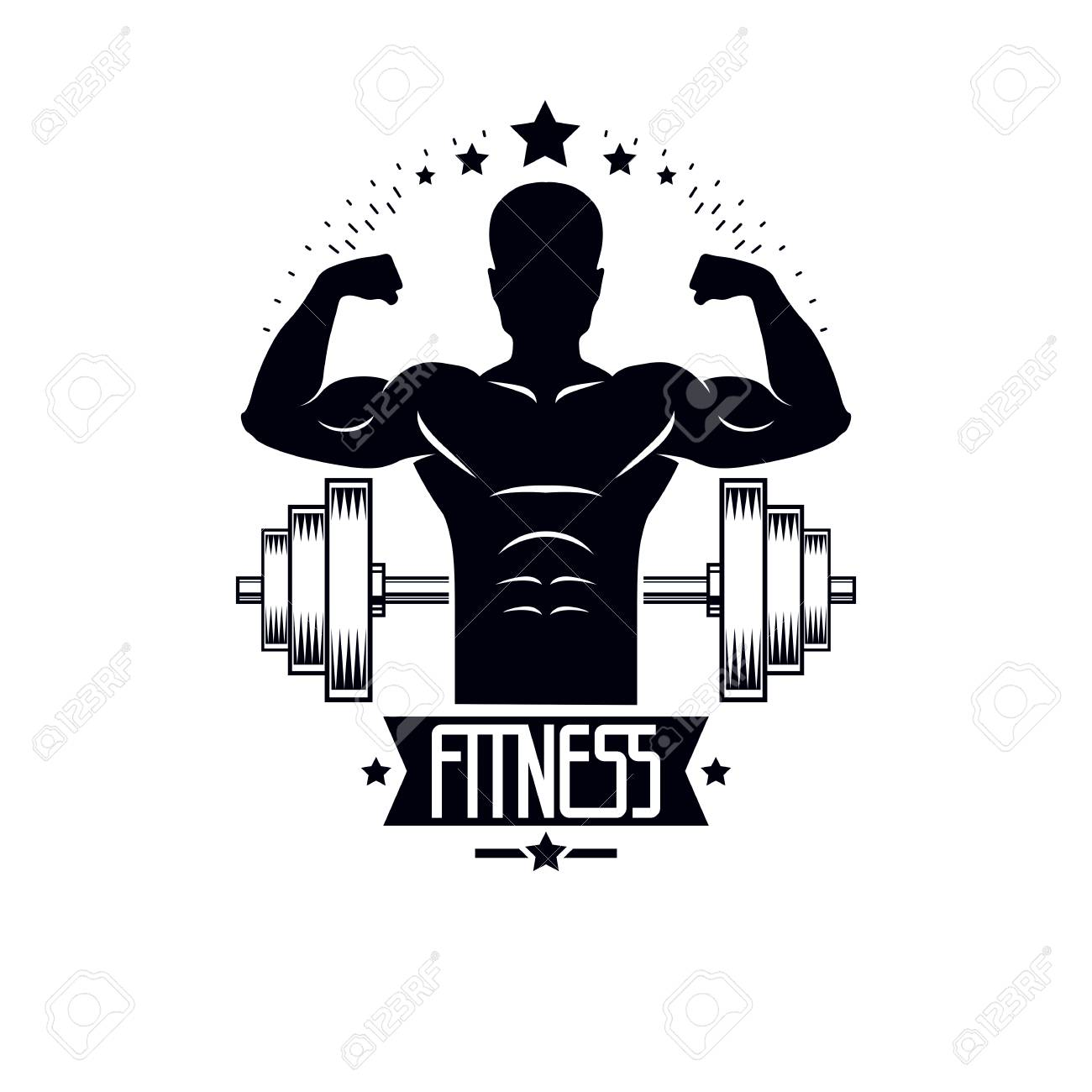 Bodybuilding Weightlifting Gym Logotype Sport Template, Retro ...