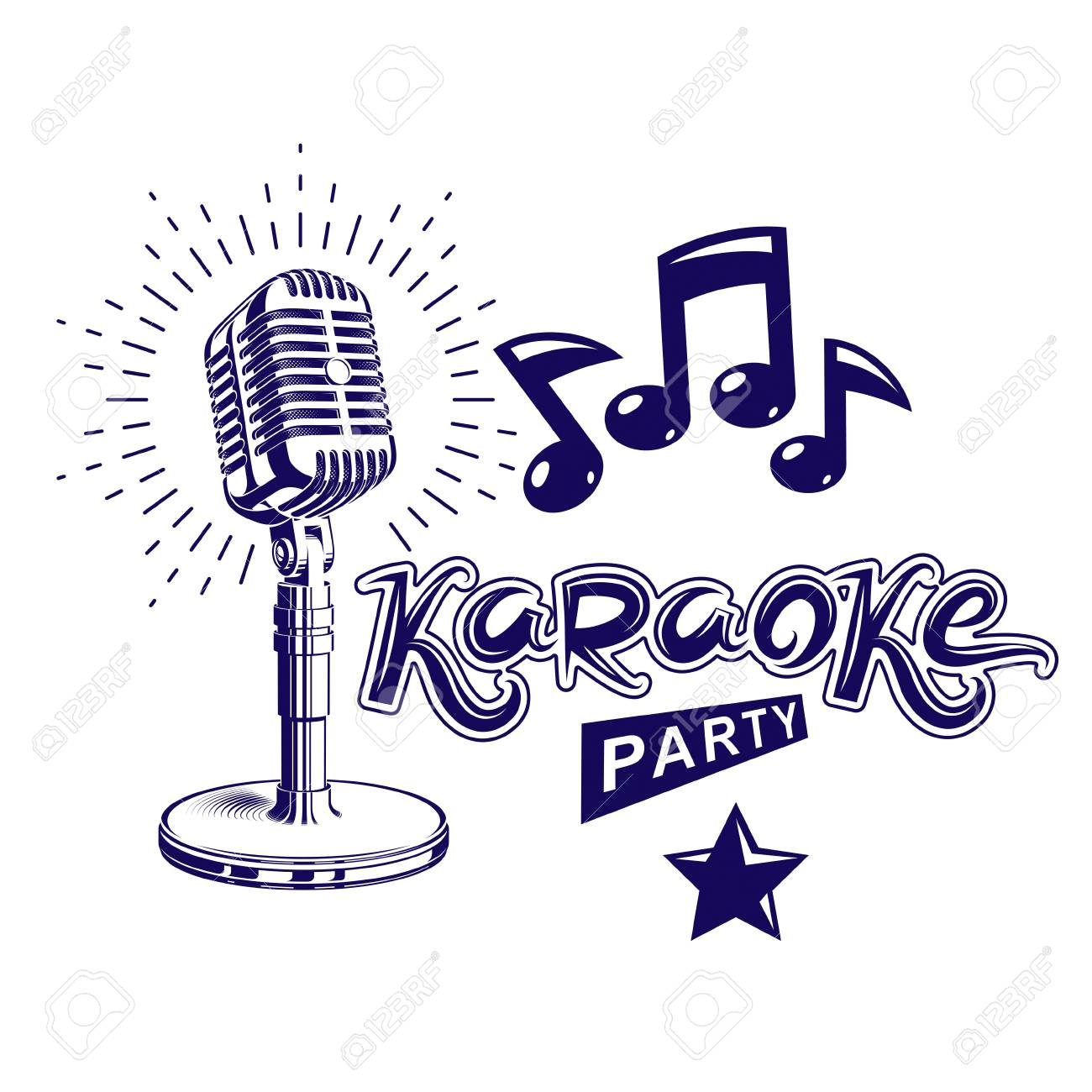 Karaoke Party Invitation Poster, Live Music Vector Concert ...