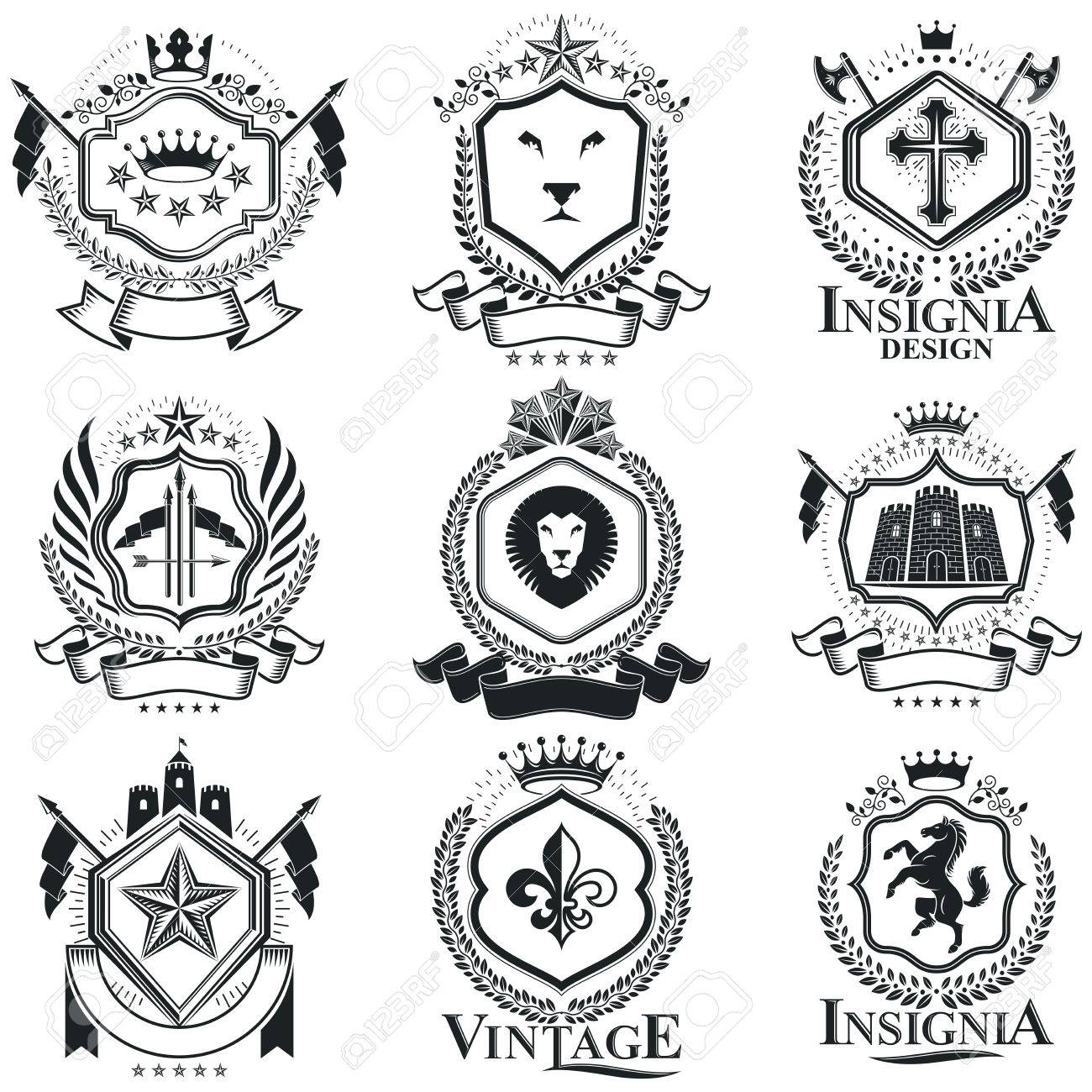 Vintage Heraldry Design Templates, Vector Emblems. Collection ...
