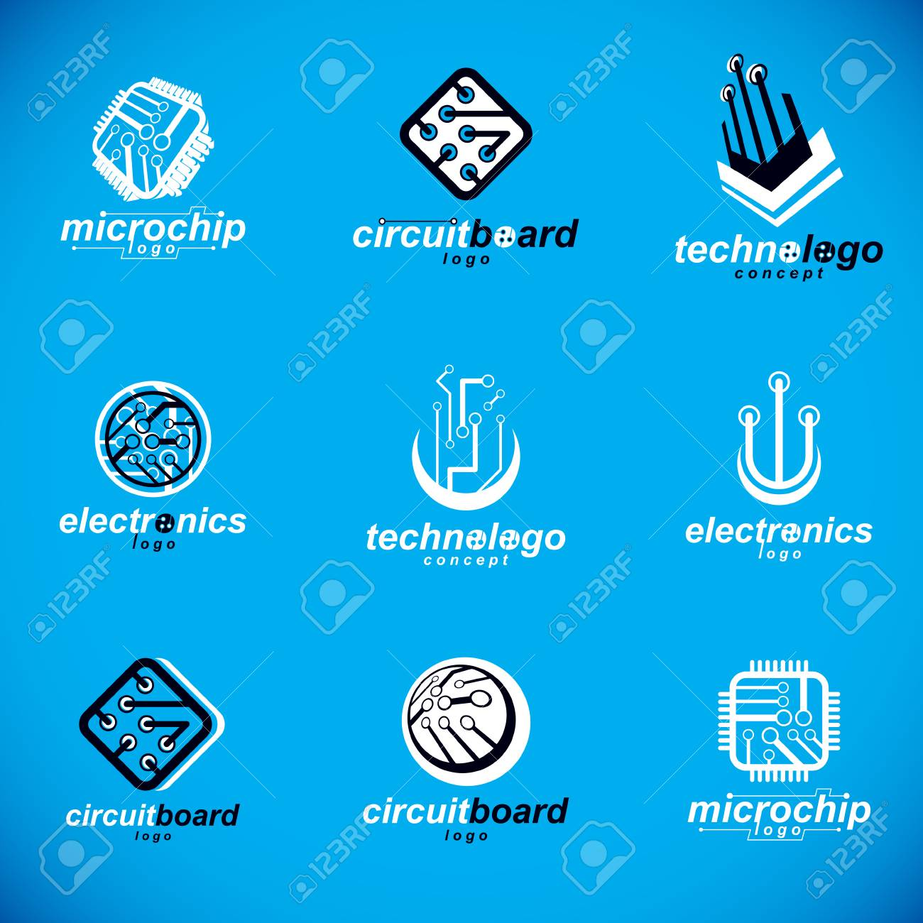 Technology Innovation Logos. Set Of Vector Abstract Computer ...