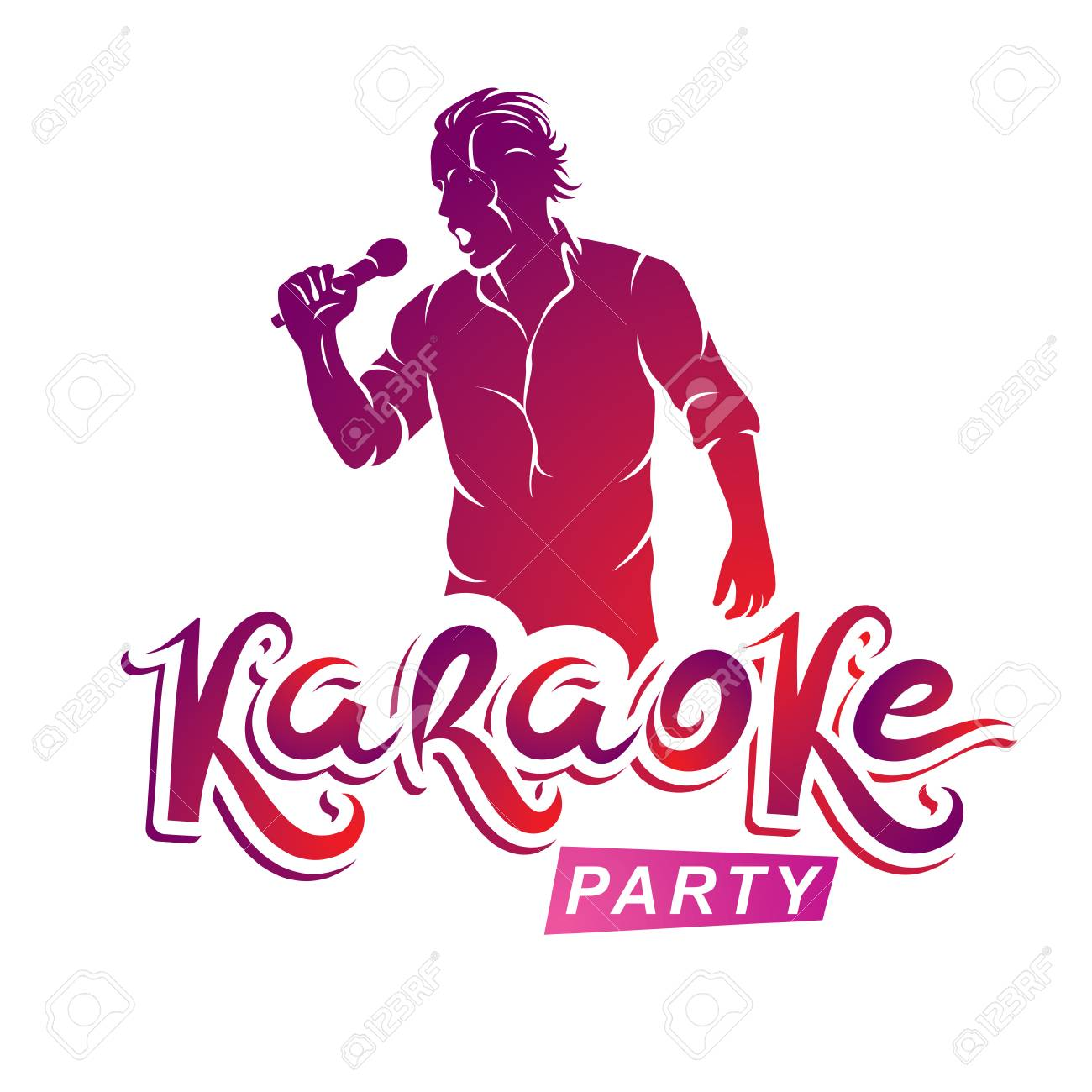 Happy Man With Microphone Sings Karaoke, Live Music Concert Vector ...