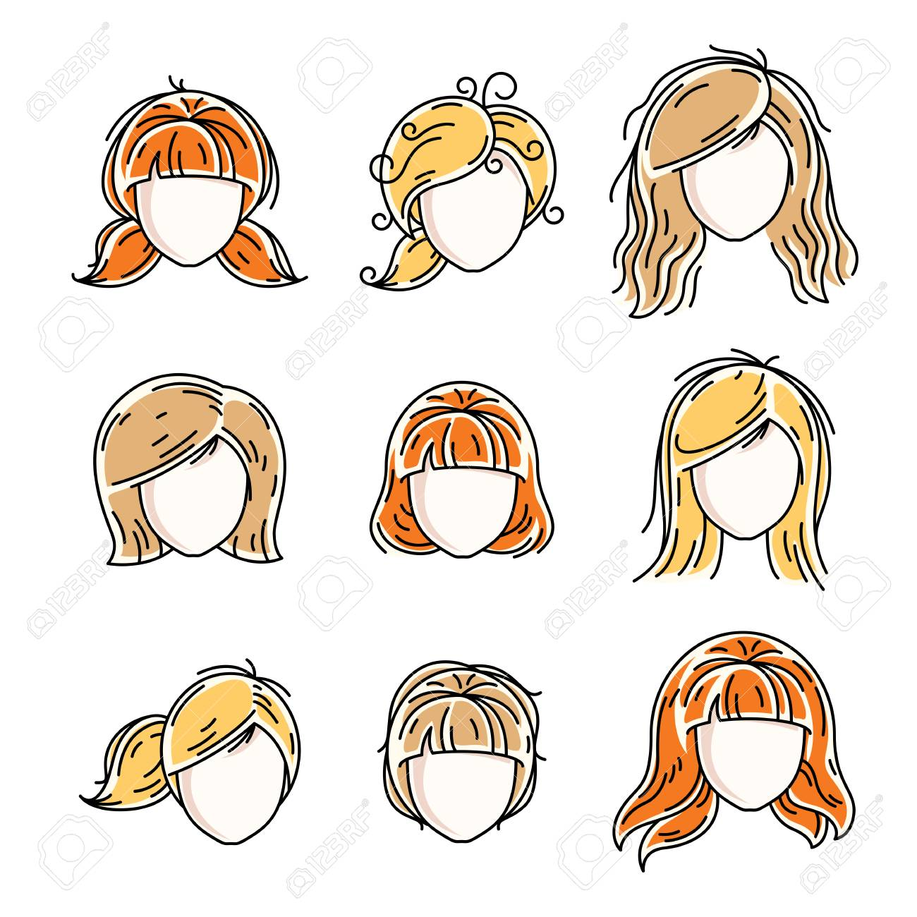 Collection Of Women Faces Human Heads Diverse Vector Characters