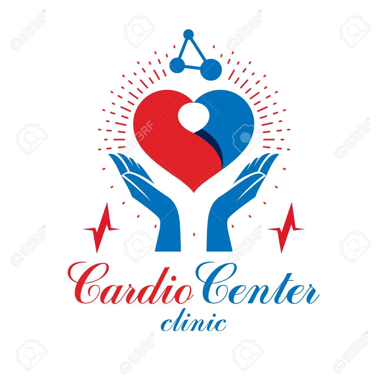 Logo abstrait cardio fait avec forme de coeur rouge et un tableau ecg   le  centre médical de cardiologie médical de l & # 39