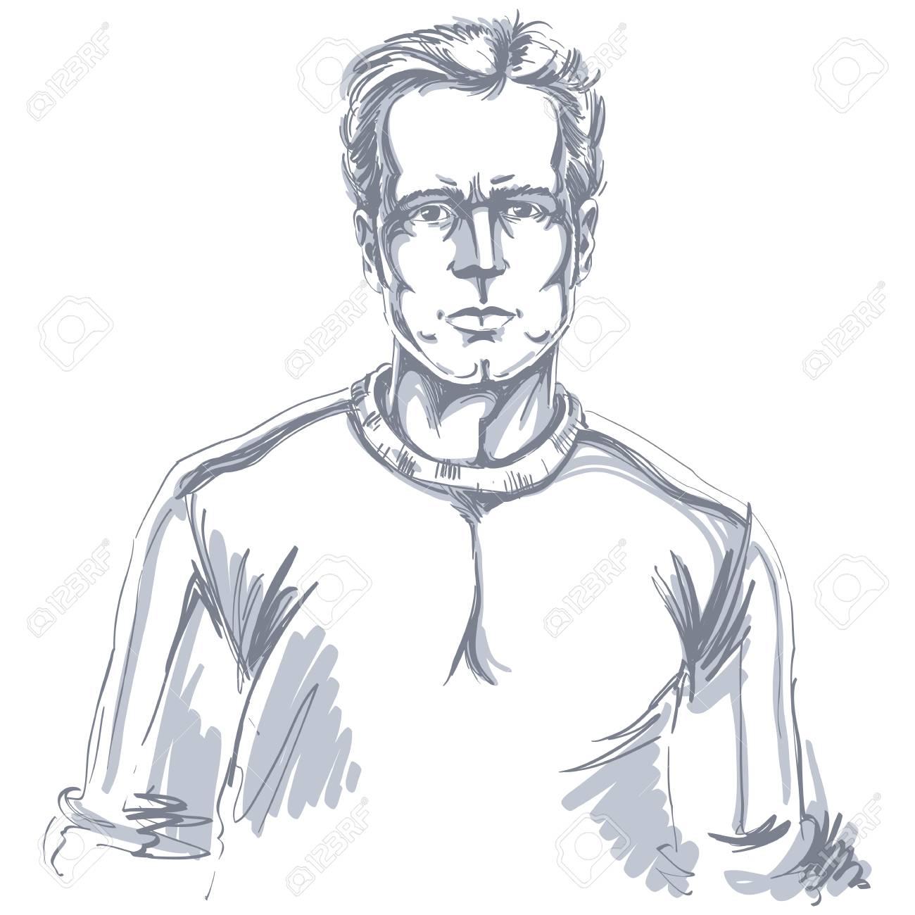 肌が白い自信を持って穏やかな男顔の感情テーマ イラストの手描き