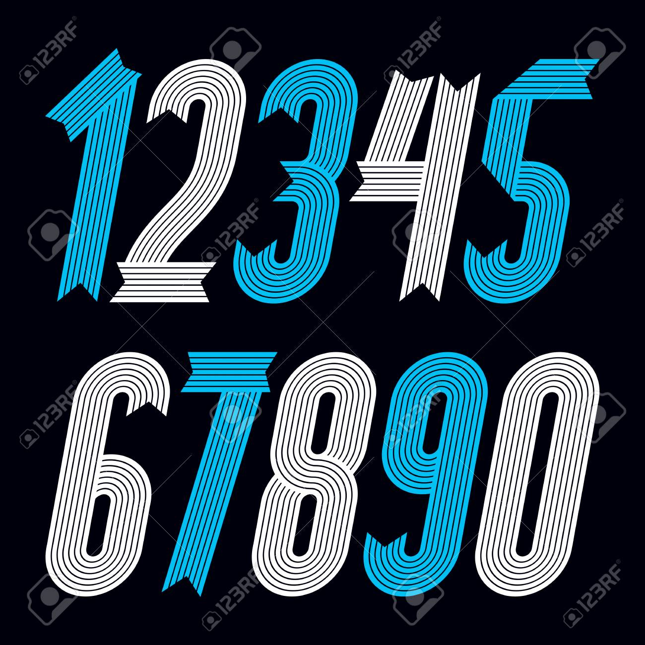 Set Of Cool Geometric Vector Digits Modern Numerals Collection Trendy Italic Condensed Bold Numbers