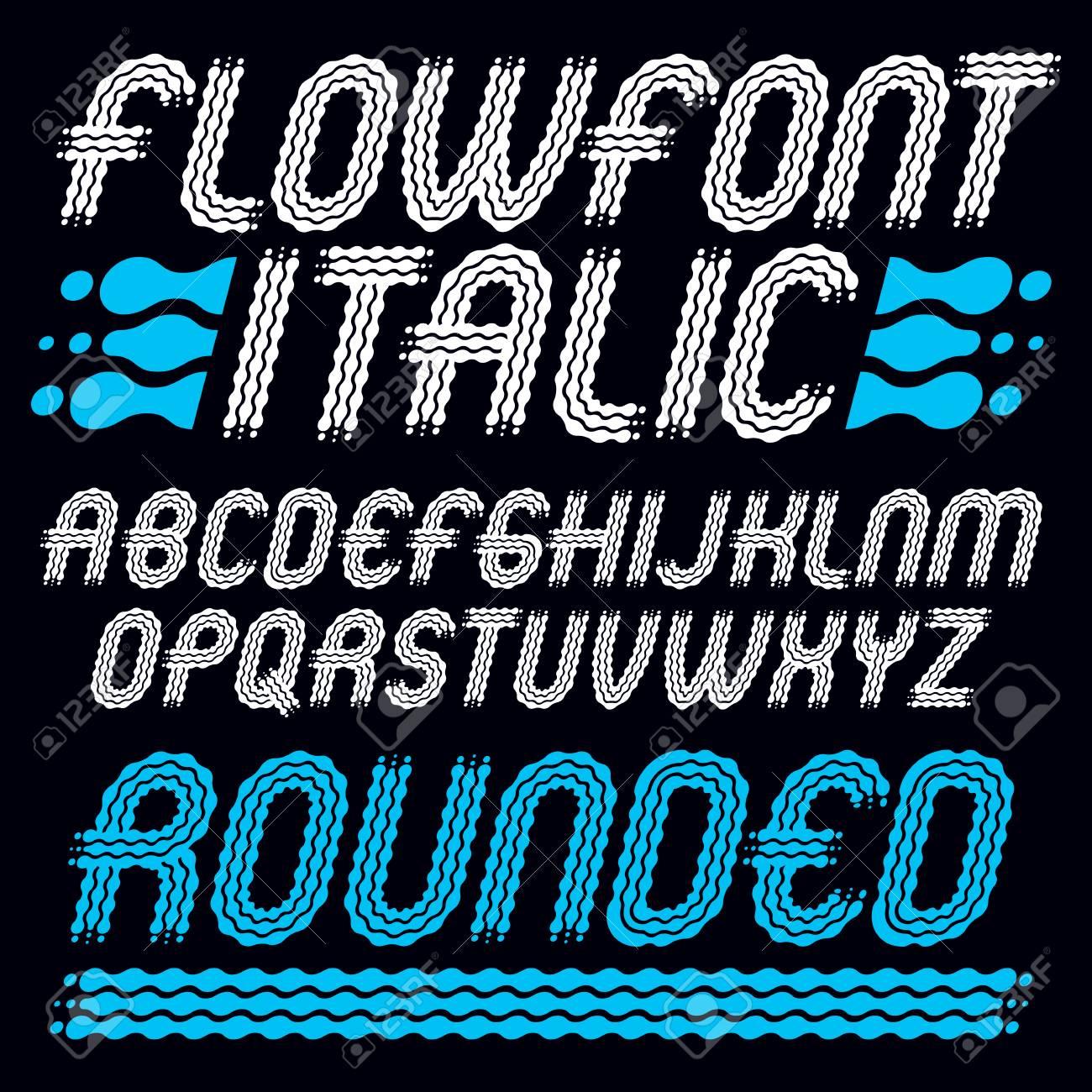 Set Of Trendy Pop Vector Uppercase English Alphabet Letters Isolated Rounded Bold Italic Retro Type